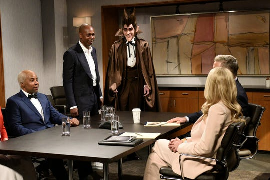 "From left to right, Kenan Thompson as Uncle Ben, host Dave Chappelle as the ""Allstate guy."" and Pete Davidson as Count Chocula during the ""Uncle Ben"" sketch on ""SNL."""