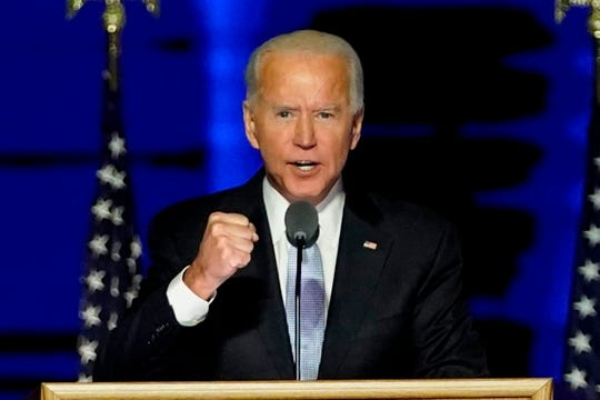 President-elect Joe Biden vows to focus on science in an effort to turn the tide against the coronavirus pandemic, during a speech in Wilmington, Del., on Nov. 7.