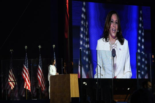 Vice president-elect Kamala Harris speak to supporters at an event held outside of the Chase Center. Biden defeated President Donald Trump to become 46th president of the United States.