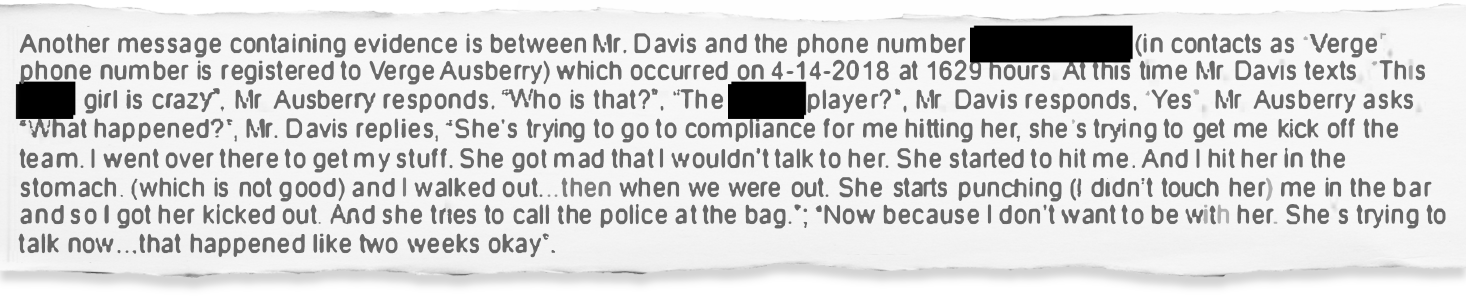 An LSUPD report shows Drake Davis admitting to punching his girlfriend in text messages with deputy athletic director Verge Ausberry on April 14, 2018.