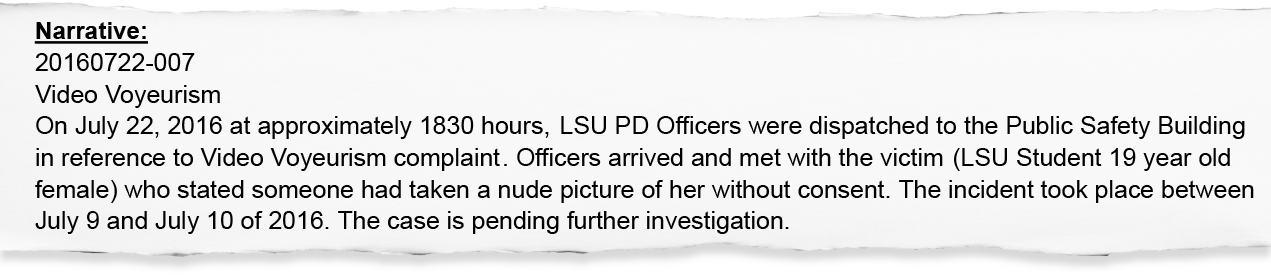 An LSUPD initial incident report summarizes Samantha Brennan's report about Derrius Guice but leaves out key details. Brennan and USA TODAY sued LSU for access to the full report.