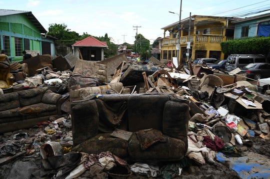 Scenes of damage caused by Hurricane Eta in the Villanueva municipality, in Cortes, Honduras, on November 7, 2020.