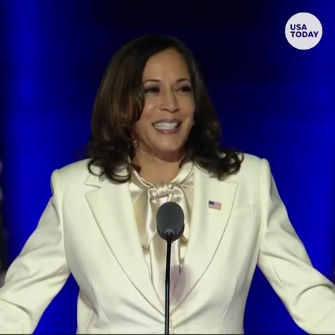 Vice President-elect Kamala Harris sends message to young girls in first address to nation