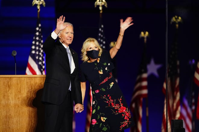 President-elect Joe Biden and Dr. Jill Biden wave after he delivered his victory address after being declared the winner in the 2020 presidential election in Wilmington, Del. on Nov. 7, 2020. Biden defeated incumbent US President Donald J. Trump.