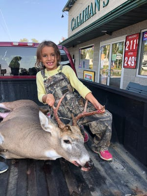 Diana Frye submitted this photo of her daughter, Kenzie Frye, who is 6 years old and in first grade at Mapleton Elementary School, with her first deer, a 7-point buck. She got the deer Oct. 5 off the family farm using a crossbow.