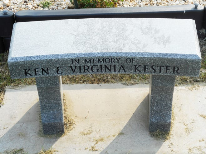 A memorial bench for Ken and Virginia Kester was placed behind the first tee box at the Las Animas/Bent County Golf Course this past summer.