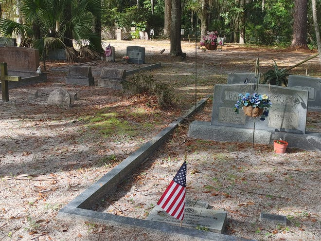 Members of Dennis J. Becker American Legion Post 205 of Bluffton planted American flags at the graves of veterans resting in Bluffton cemeteries Saturday.