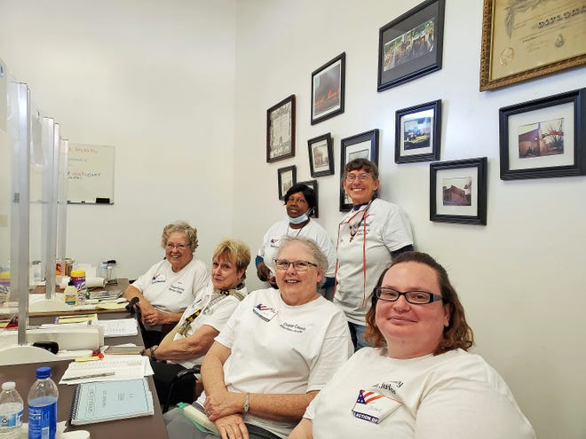 Bunceton voters were greeted warmly Nov. 3 by election judges Barbara Dahl, Portia Herigon,  Beverly Sims, Sarah Kuschel, Beth Vonderahe and Jaimie Schafer. Cooper County had close to 75% voter turnout.
