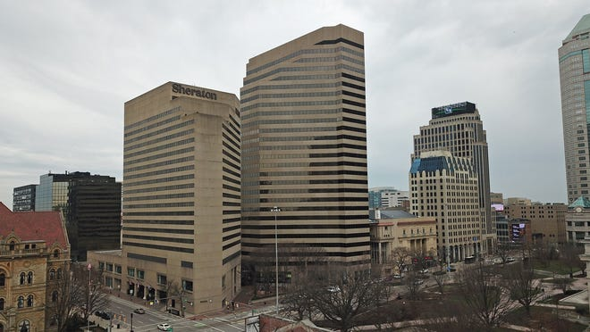 The 26-story office building at 65 E. State St., in the center of this photo, has sold for $36.8 million.
