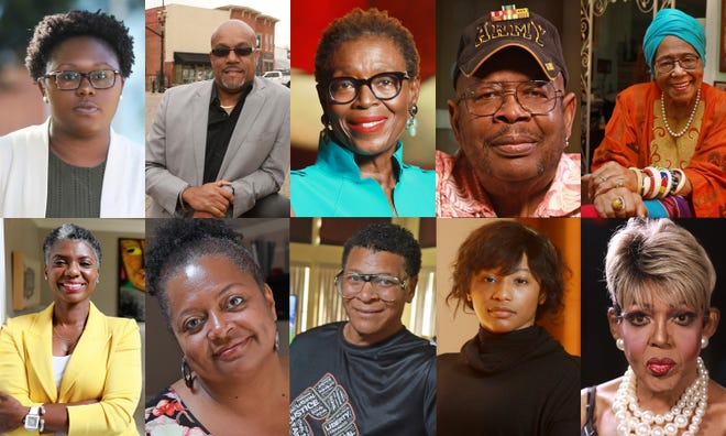 So many Black central Ohioans have stories of experiencing racism to tell, including, from top left, Angela Frost, Kenny Morgan, Florence Latham, Joseph Jennings and Ann Walker, and, from bottom left, Janelle Coleman, Maree Whitlow, Robert McClendon, Rachael Parini and Tony Haslett, who performs drag as Georgia Jackson.