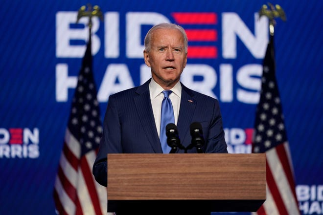 Democratic presidential candidate Joe Biden speaks Friday, Nov. 6, 2020, in Wilmington.