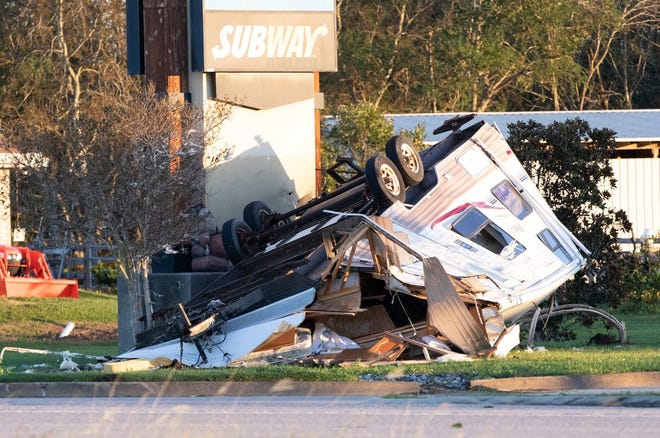 An RV was flipped over in Galliano by Hurricane Zeta, which made landfall Oct. 28 in Cocodrie.
