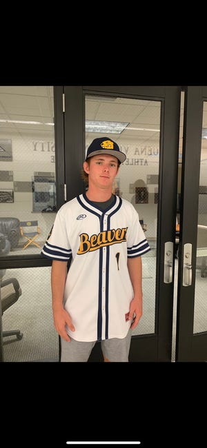Zach Pleggenkuhle poses after committing to Buena Vista University for baseball.