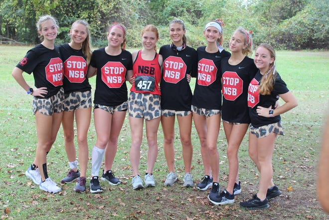 The New Smyrna Beach girls cross country team qualified for the state meet after finishing fourth at regionals Saturday, Nov. 7, 2020. Team members are Emma Jane Schlageter, Riley Carter, Olivia Gardner, Kasey Lane, Averi Merkle, Rebekah Shores and MaKayla Shores.