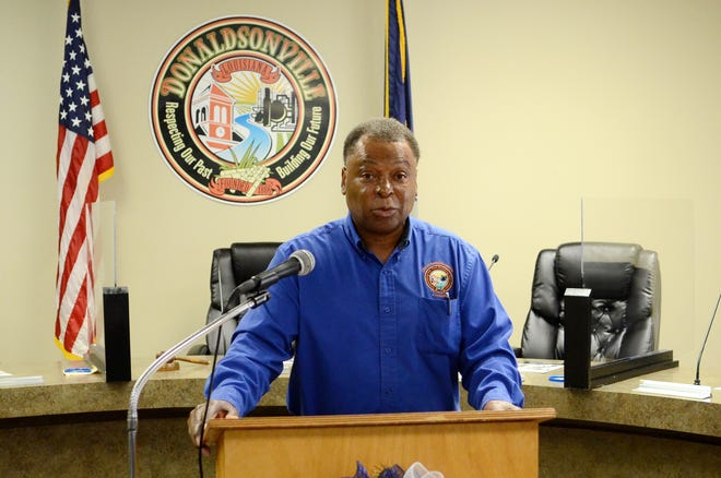 Donaldsonville Mayor Leroy Sullivan delivers updates Nov. 5 from City Hall. Sullivan secured his fifth term in office by receiving 61 percent of the vote against challengers Travis London and Glenn Price.