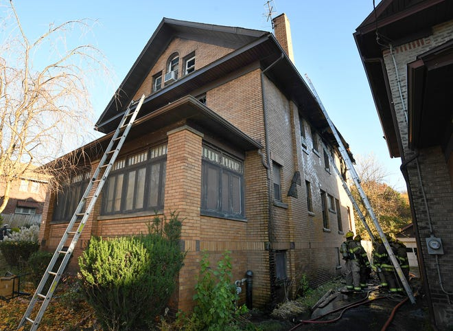 One person was transported to Saint Vincent Hospital following a 2:35 p.m. house fire that heavily damaged this residence in the 400 block of E. 28th St. in Erie on Monday.