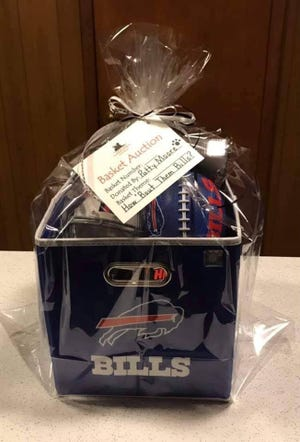 """""""How 'Bout Them Bills?"""" is the theme of this basket donated by Patty Moore."""