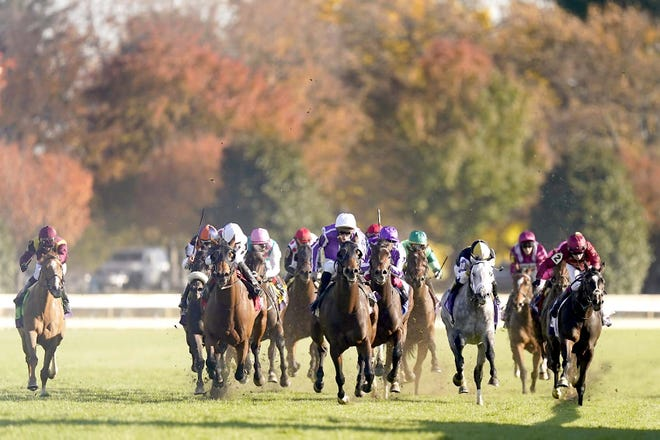 Pierre-Charles Boudot, center front in purple silks, rides Order of Australia to win the Breeders' Cup Mile Saturday at Keeneland Race Course in Lexington, Kentucky.
