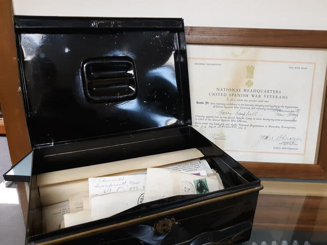 Harry Wingate Campbell's box and uniform are on display in the military room at the Summersworth HIstorical Museum.