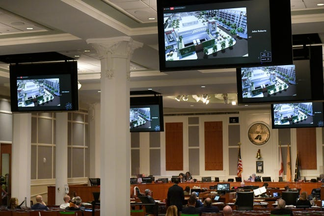 Jacksonville City Council members gathered in person last Thursday  at City Hall along with representatives of the Jacksonville Jaguars and The Cordish Companies to open review of a proposed development on the Lot J area by the football stadium.