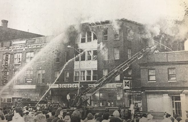 The Lillie Block fire in Gardner from 1976.