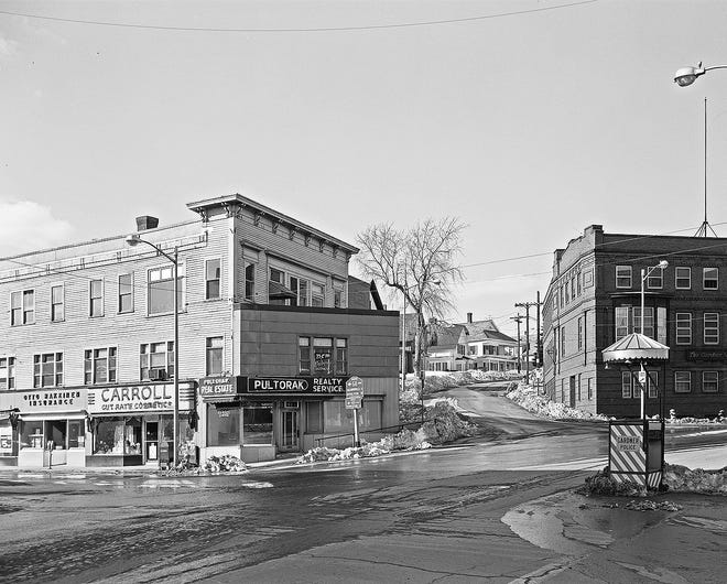 The Alger's Block on the corner of Vernon and Parker streets in Gardner circa 1968. [Courtesy photo]