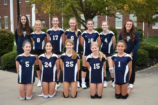 The RB Chamberlin middle school seventh-grade team finished the season at 14-0, dropping only two sets all season. Team members include, front row, from left, Reid Cummings, Josie Holman, Madisyn Muth, Elliot Edelheit, Marissa Besett. Back row, from left. are Taylor Pucky, Kaitlyn Dow, Kennedy Platek, Rory McConoughey, Lexi Rapp, Kelsey Williams and coach Amanda Cefaratti.