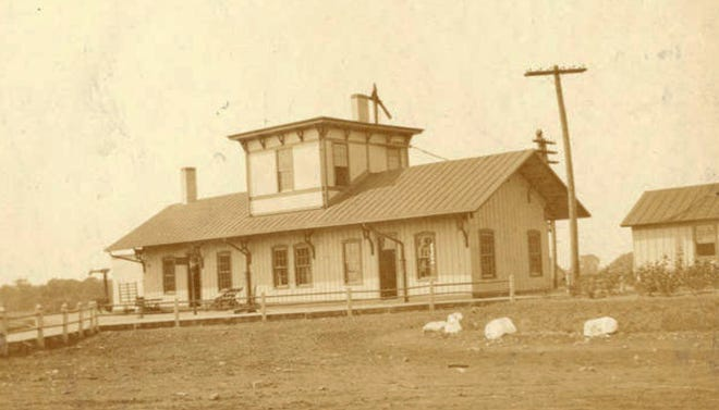 Hudson's Pennsylvania Railroad depot, photographed 100 years ago in 1920. Despite efforts to save the historic structure, the depot was demolished in 2013.