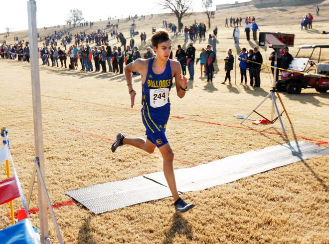 Spur's Jorden Zarate wins the Region I-1A boys race with a time of 17:16.80 on Nov. 9 at Mae Simmons Park. Zarate is making his fourth appearance at the cross country meet and hopes to claim gold after a fifth-place finish last year.