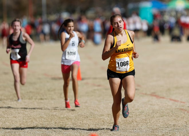 Amarillo High's Catalina Purcell came in 13th place with a time of 20:42.90 in the Class 5A girls 5K race at the UIL Region I Cross Country Meet at Mae Simmons Park Monday, Nov. 9, 2020.