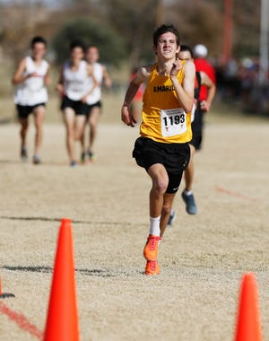 Amarillo High's Miles Cox came in 14th place in the Class 5A boys 5K race with a time of 16:21.00 at the UIL Region I Cross Country Meet at Mae Simmons Park Monday, Nov. 9, 2020.