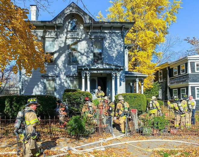 Firefighters responded early Monday afternoon to a fire in a multi-unit residence on East First Street in Corning.