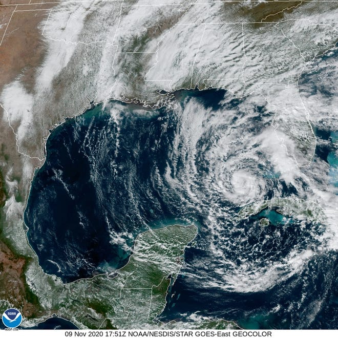 Satellite image of Tropical Storm Eta as it made its way into the Gulf of Mexico Monday afternoon with maximum sustained winds of 65 mph.