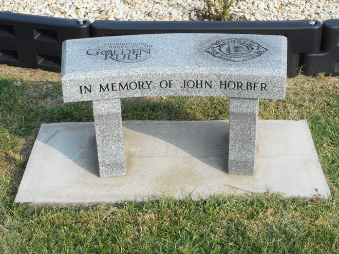 A memorial bench for John Horber was placed behind the seventh tee box at the Las Animas/Bent County Golf Course last summer.