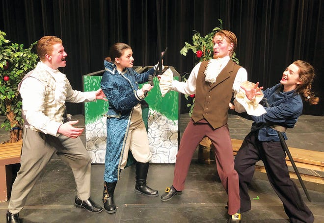 Sir Toby Belch (Jack Lloyd), Viola (Abby Ellis), Sir Andrew Aguecheek (Alex Dahl), Antonio (Elle Lancaster) embark on a duel during rehearsals for 'Twelfth Night.'