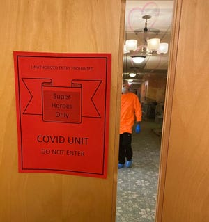 A photo of inside one of the COVID-19 units at Durgin Pines nursing home in Kittery.