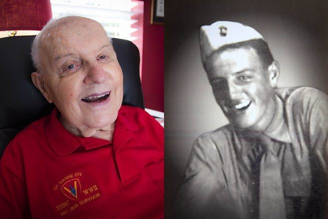 Greg 'Doc' Emery posed for this portrait at left on Friday, Nov. 6, at age 94, 77 years after he left high school and enlisted to fight in World War II, right. He was on Iwo Jima when American Marines raised the U.S flag on the tiny Pacific island.