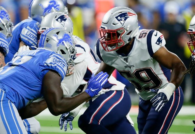 Terez Hall (right) had been limited to preseason play only in his two seasons with the Patriots. Monday, he was put on the active roster and started at linebacker in New England's win over the New York Jets on Monday Night Football.