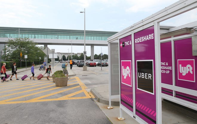 The pickup shelter for Uber and Lyft drivers at T.F. Green Airport in Warwick in 2017. [The Providence Journal / Steve Szydlowski]