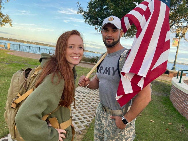Veterans Liz Hartman and Aiden Colon, working with American Legion Post 539 and sponsors, will walk from Pollocksville to New Bern on Veterans Day to raise awareness and funds to fight military suicides.