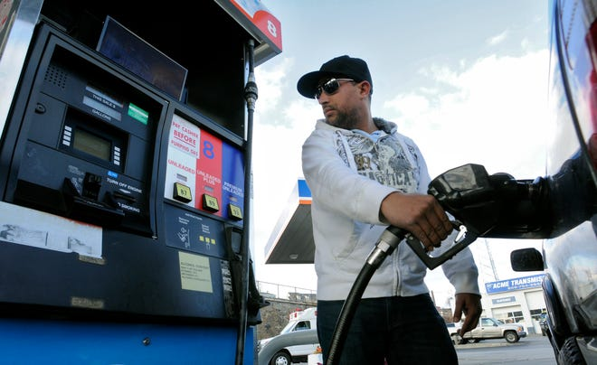 Gas prices in Worcester fell to $2.02 per gallon on Monday.