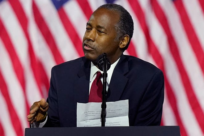 Secretary of Housing and Urban Development Ben Carson speaks during a campaign event before President Donald Trump at the Cobb Galleria Centre Friday.