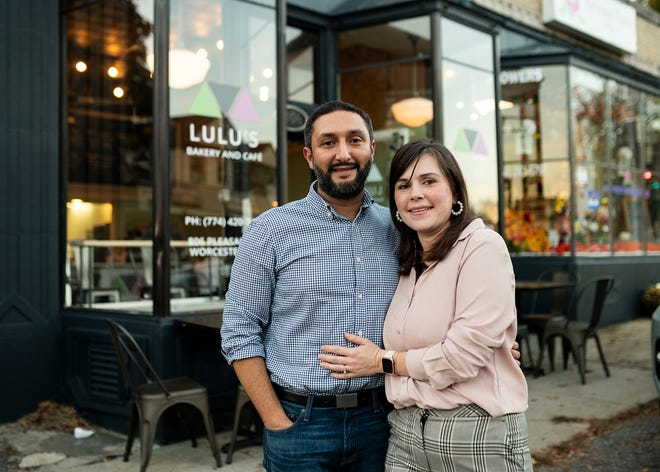 Mohamed and Olivia Hashesh, owners of LuLu's Bakery and Cafe, located at 806 Pleasant St., Worcester. [Photo/Ashley Green]