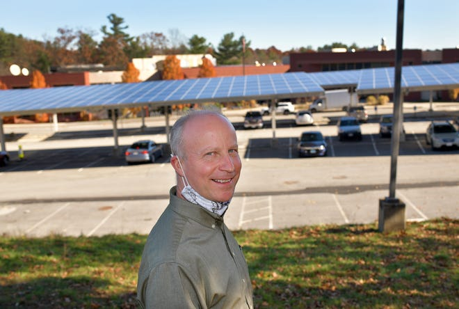 WORCESTER -  John  Odell, Energy Efficiency and Conservation Manager, outside of Sullivan Middle School, where solar panels are in use on Monday, November 9, 2020.