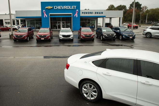 The front lot at Powers-Swain Chevrolet normally has about 100 vehicles, but at this time it only has about 40 vehicles.