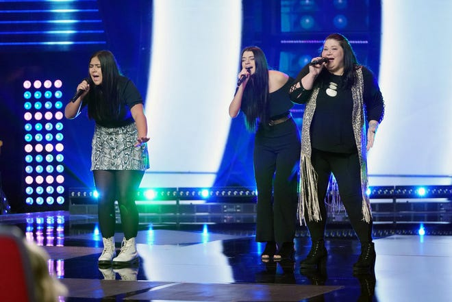 """Worth the Wait of Centre perform during the Blind Auditions round on NBC's """"The Voice."""" From left are Jacy, Mia and Tara Matthews."""