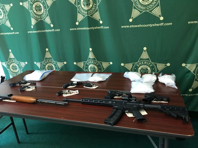 Law enforcement officers seized eight pounds of methamphetamine, cocaine, marijuana, guns and cash in three major drug arrests in recent weeks.