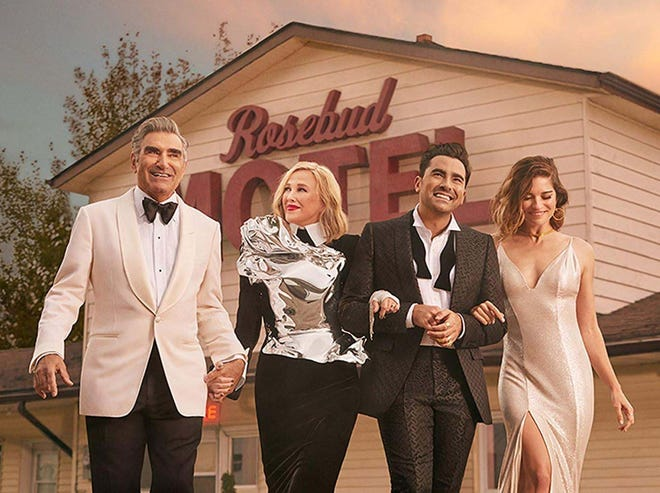 "From left, Eugene Levy, Catherine O'Hara, Dan Levy and Annie Murphy star in the final season of ""Schitt's Creek."""
