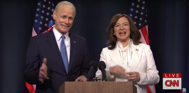 "Jim Carrey as Joe Biden and Maya Rudolph as Kamala Harris in a screen capture from the Nov. 7 episode of  ""Saturday Night Live."""