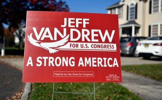 A Jeff Van Drew sign pictured here in Buena, N.J., on Monday, Nov. 9, 2020.